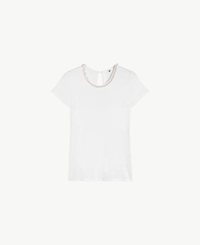 T-Shirt mit Stickerei Elfenbein Frau BS8EFF-01