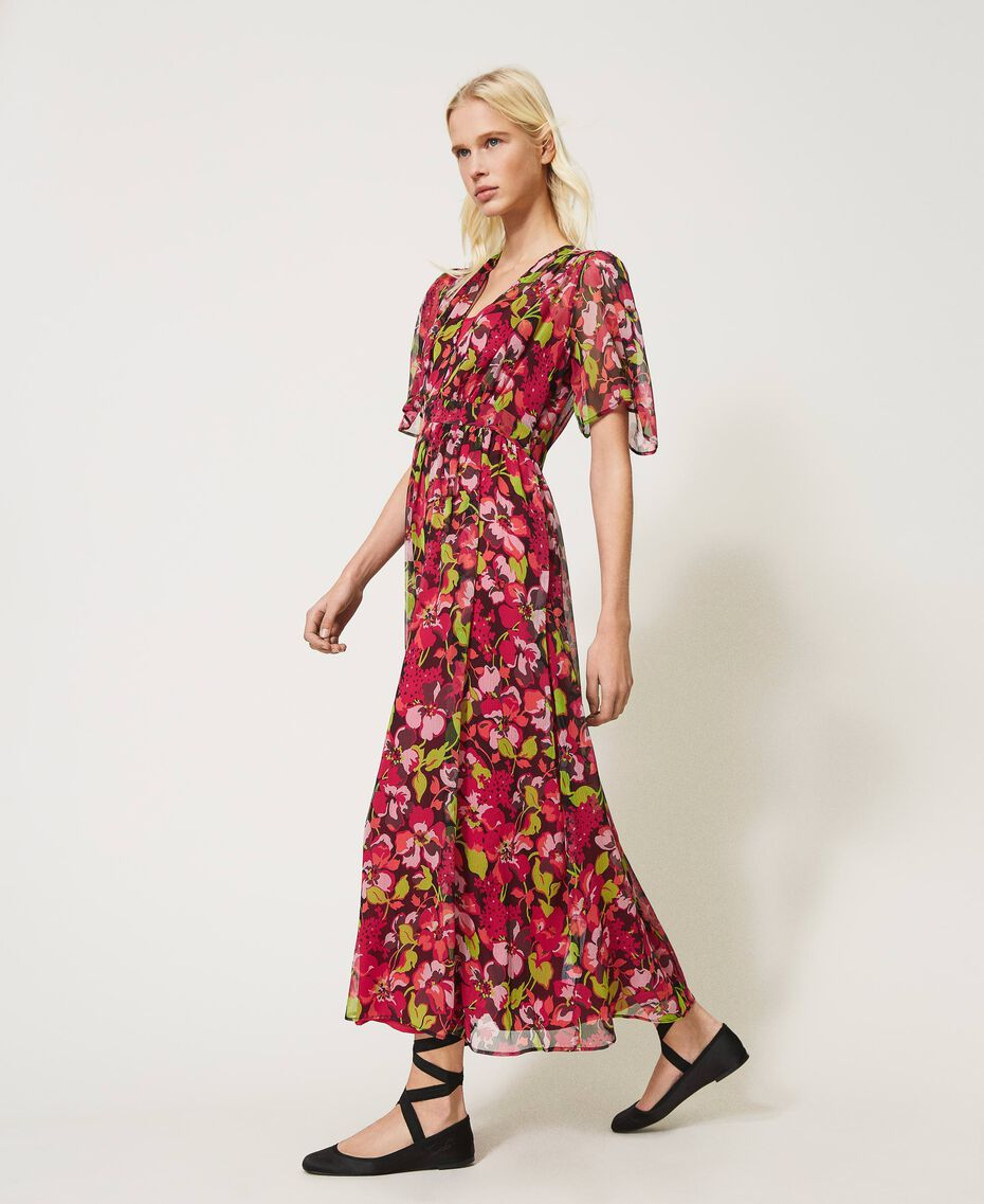 Floral creponne long dress Fuchsia Floral Print Woman 202TP2531-02
