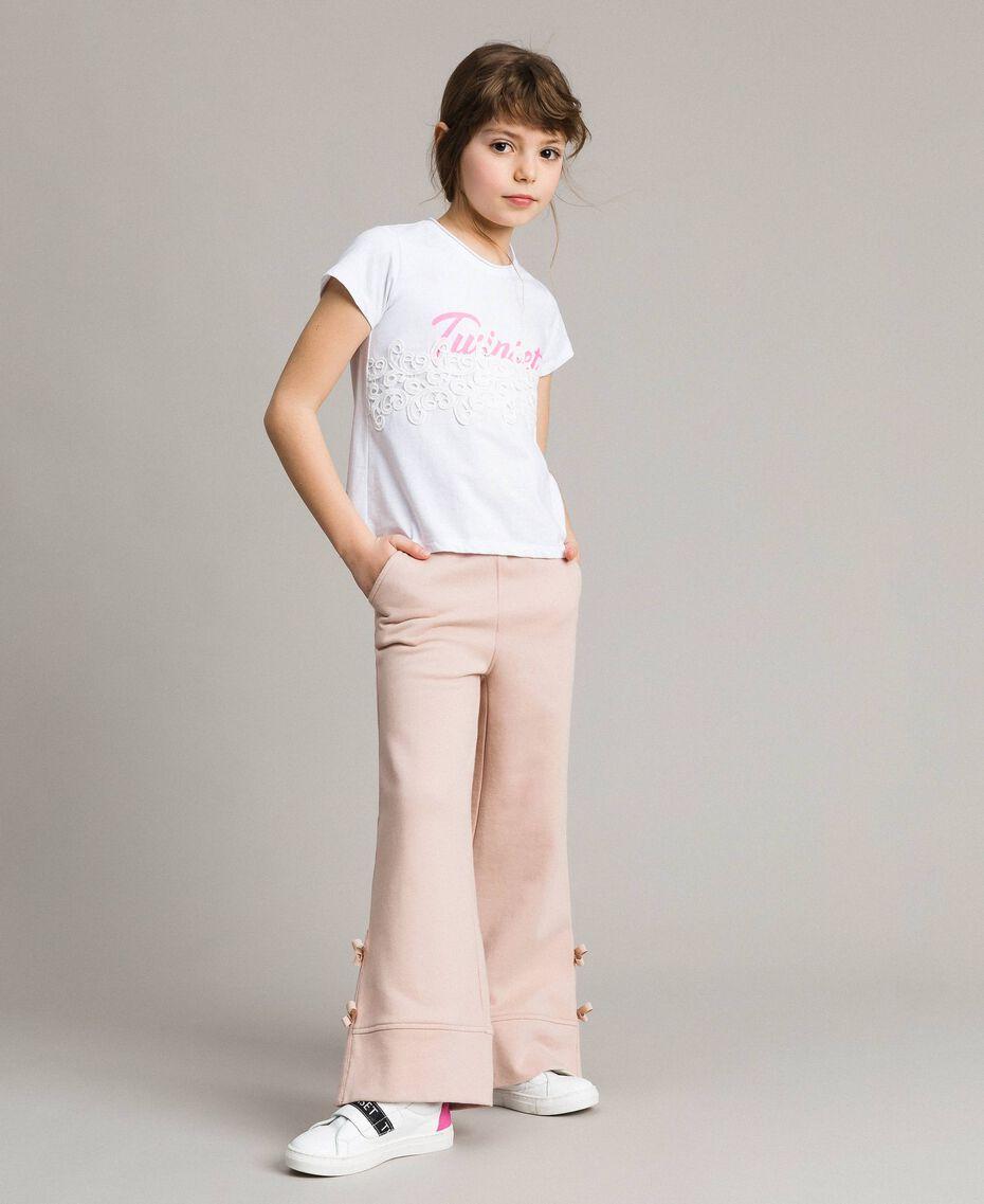 T-shirt en jersey orné de dentelle avec imprimé Blanc Enfant 191GJ2040-0S