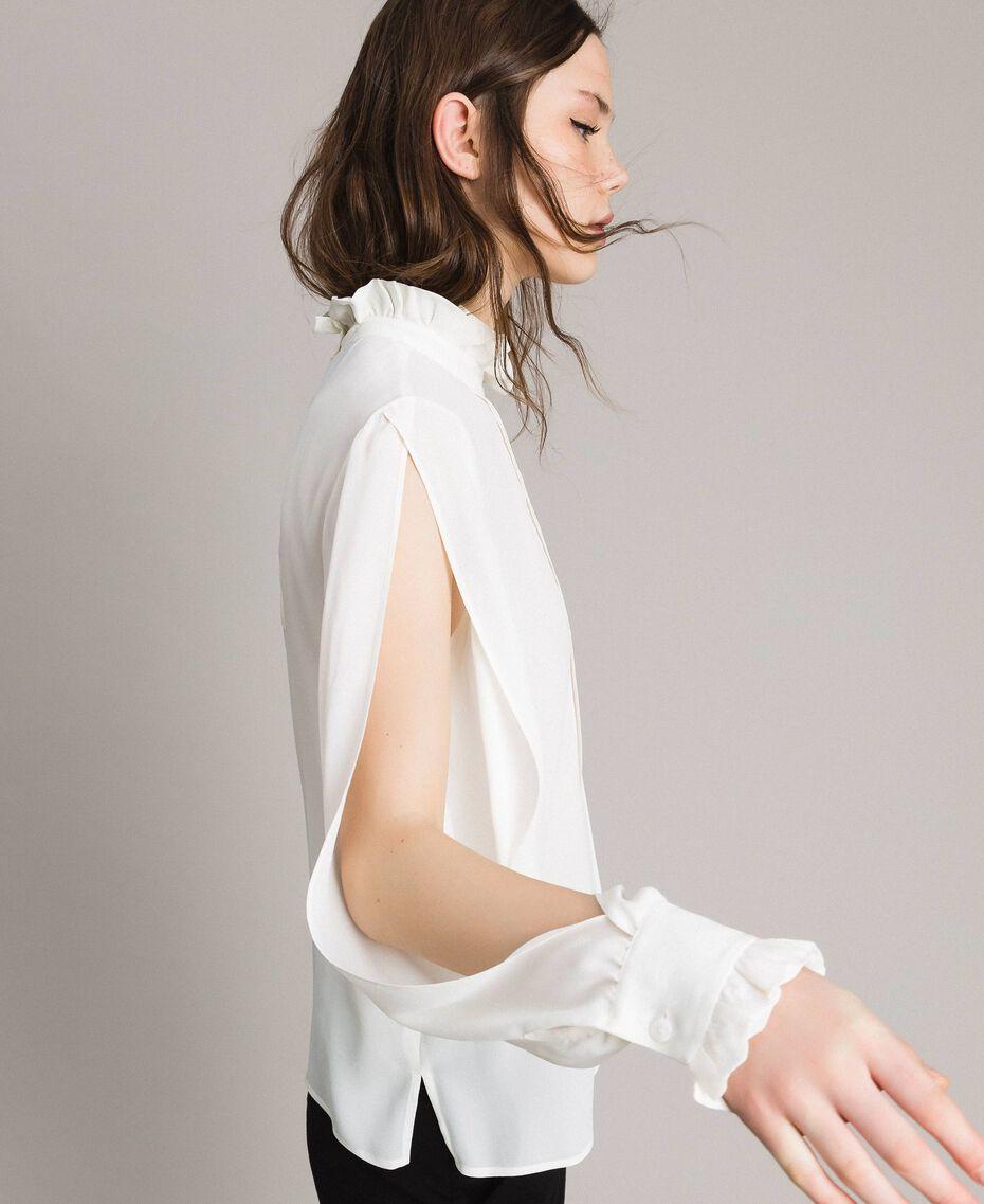 Rüschen-Bluse aus Seidenmischung Weiß Schnee Frau 191TP2135-02