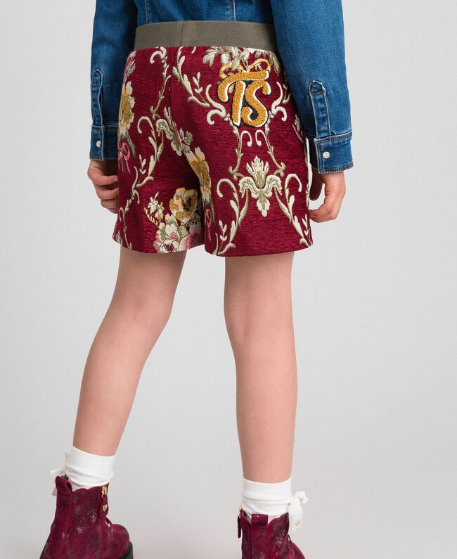 Floral brocade shorts Ruby Wine Brocade Jacquard Child 192GJ2445-03