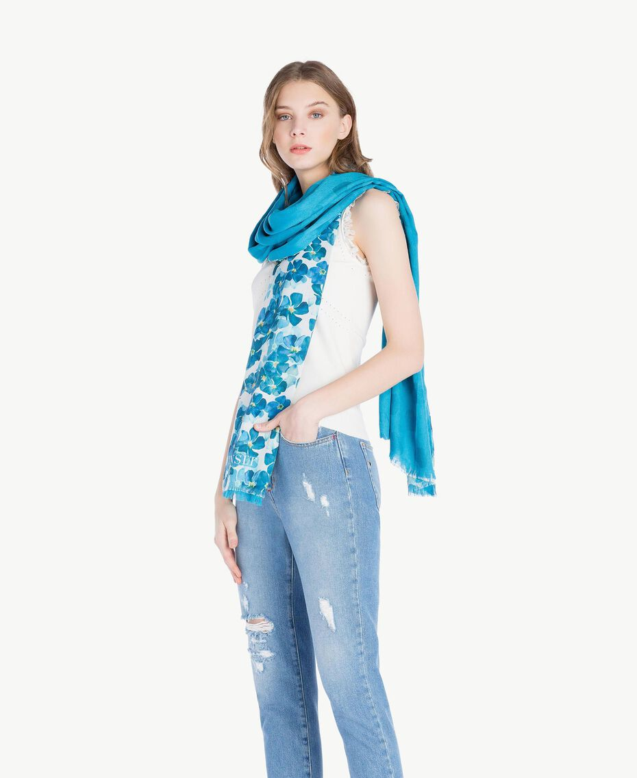 Flower scarf Turquoise / Oriental Blue Flower Print Woman AS8P4G-02