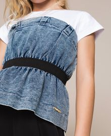 "Top in jeans con arricciatura Bicolor Bianco ""Papers"" / Denim Medio Bambina 201GJ2312-04"