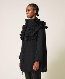 Wattierter Mantel aus Taft mit Rüschen Schwarz Frau 202ST2100-04