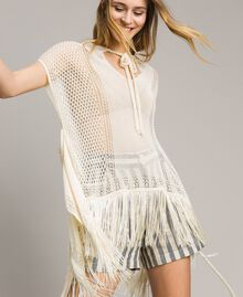 Mesh and lace stitch fringed poncho Ecrù Woman 191TT3061-01