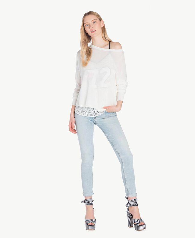 Asymmetrischer Pullover Weiß Frau JS83GA-05