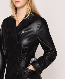 Faux leather trench coat with belt Black Woman 201MP2031-04