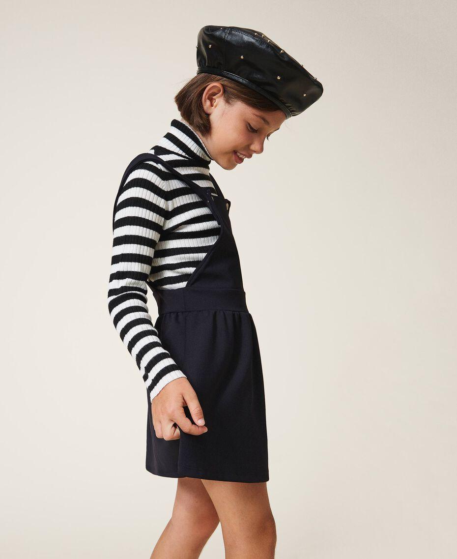 Bonnet modèle béret en similicuir avec clous Noir Enfant 202GJ4930-0S