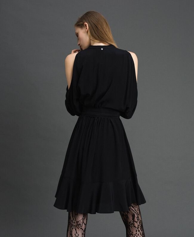 Crêpe de Chine dress with frills Black Woman 192TT2436-04