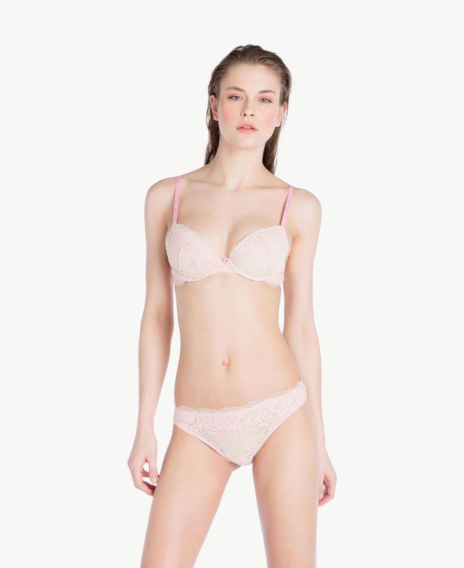 Soutien-gorge push-up dentelle (bonnets C) Bicolore Pinkie Sugar / Rose «Pêche Poudré» Femme LS8A4C-03