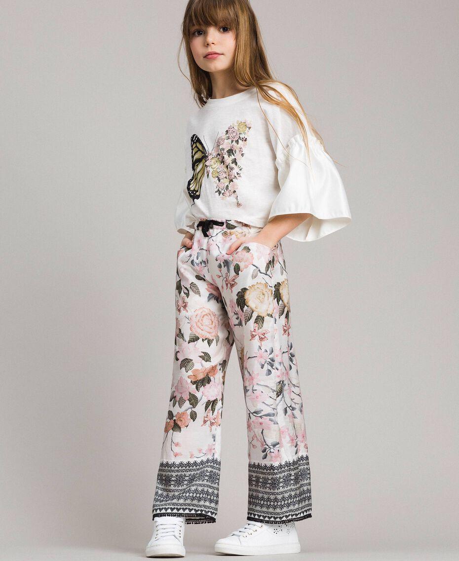 Viskose-Hose mit Spitzen-Aufdruck und Blumenmuster Motiv Ramage Schmetterling Kind 191GJ2522-0S