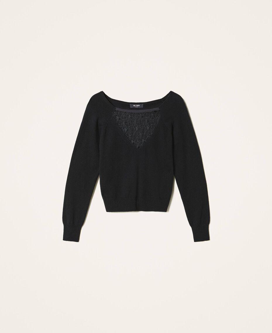 Pull en laine mélangée avec tulle Noir Femme 202MP3090-0S