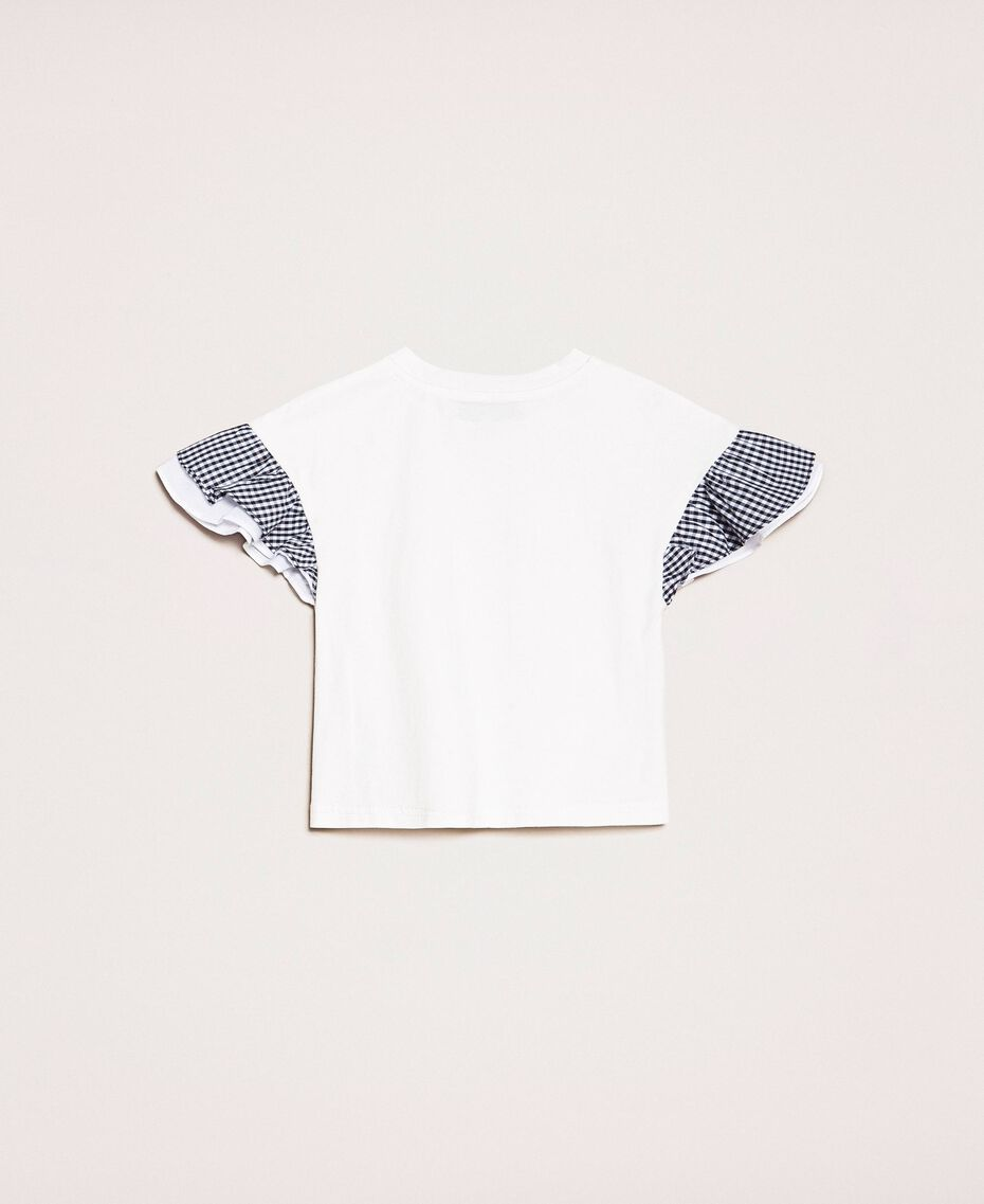 """T-shirt with gingham sleeves Two-tone """"Papers"""" White / Vichy Mix Child 201GB2093-0S"""