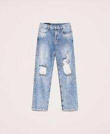 Jeans con rotture e ricami Denim Blue Donna 201MT2266-0S