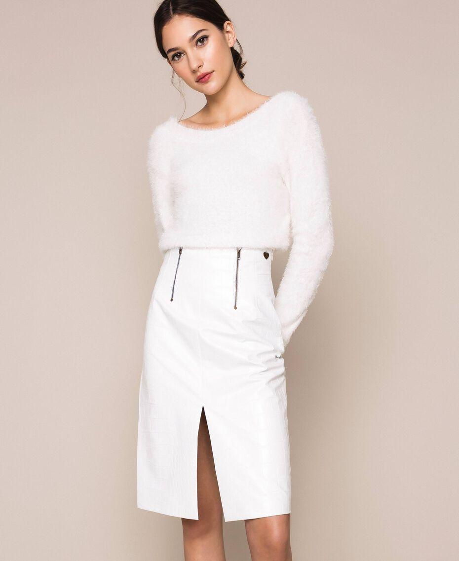Crocodile print faux leather skirt White Snow Woman 201TP2363-01