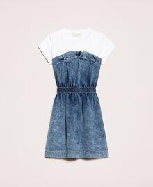 "Denim dress with gathering Two-tone ""Papers"" White / Medium Denim Child 201GJ2010-0S"