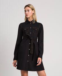 Denim effect shirt dress Black Woman 192MT2330-02