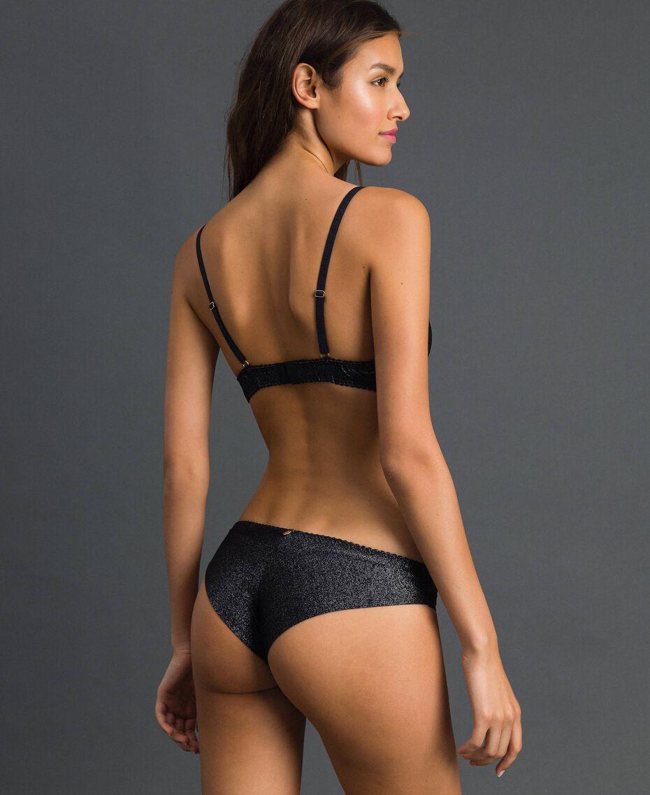 Lurex Brazilian briefs with lace inlay Silver Lurex Black Woman 192LL6B77-03
