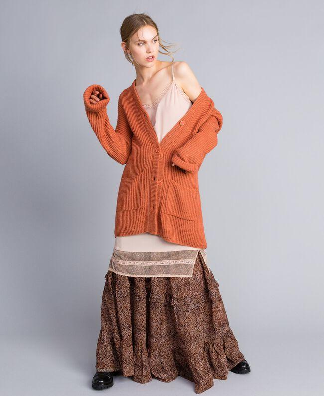 Jupe longue en mousseline avec imprimé animalier Petit Imprimé Léopard Femme SA82ME-0T