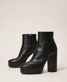 Platform leather ankle boots Black Woman 202TCP152-01