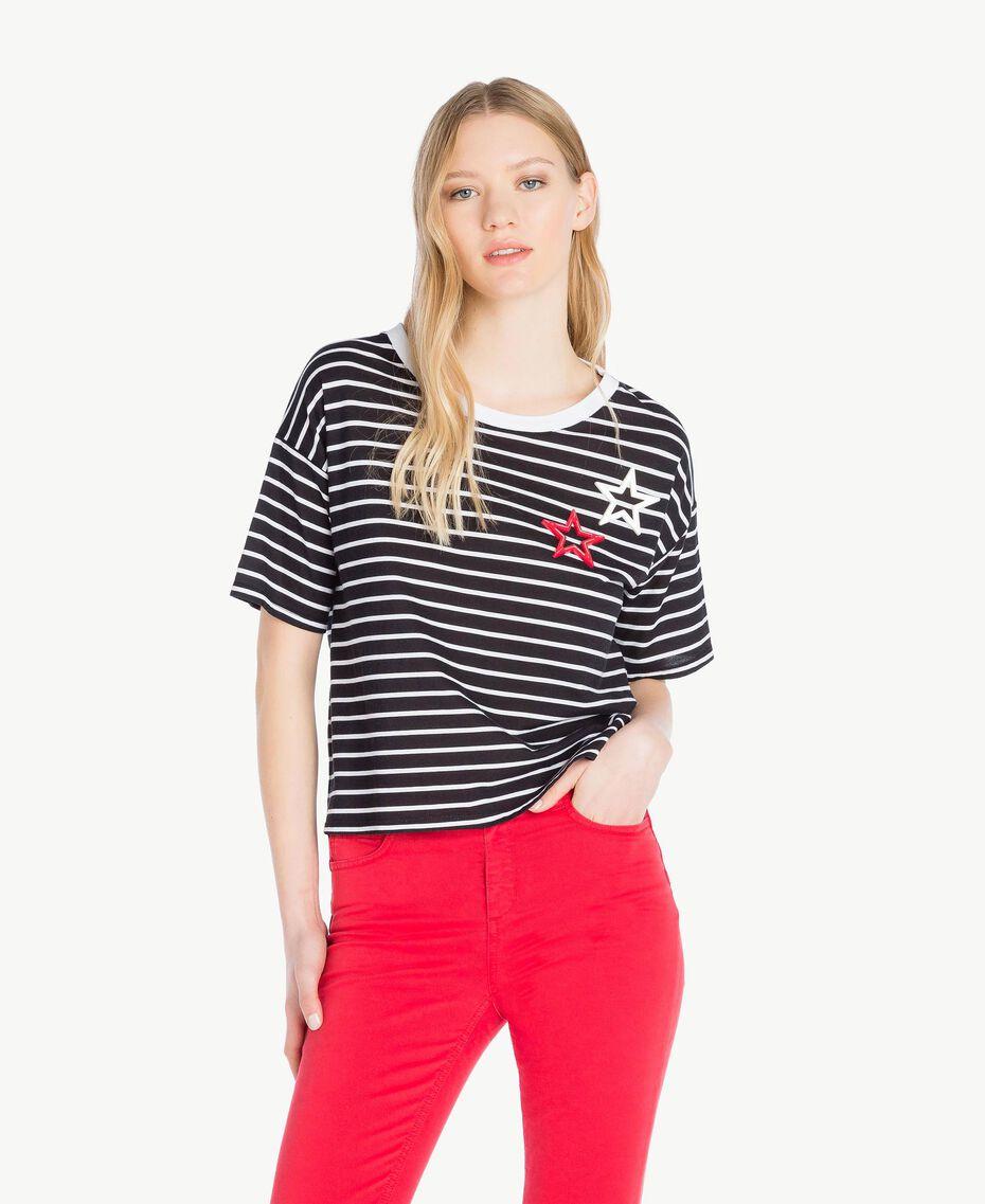 T-Shirt mit Streifen Streifen Schwarz / Optisches Weiß Frau JS82RH-01