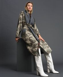 Cappotto in panno camouflage con frange Jacquard Camouflage Donna 192TT2502-03