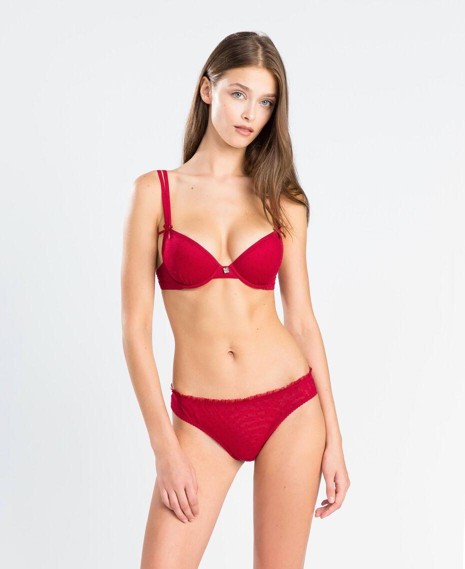Soutien-gorge push-up en tulle à pois floqués Rougeâtre Femme LA8K11-02