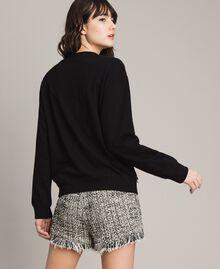 Sweat-shirt avec broderie papillon et franges Noir Femme 191TP2590-04