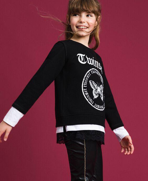 Oversize-Sweatshirt mit Print und Spitze