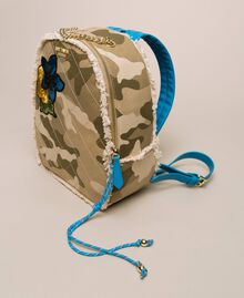 Canvas backpack with patch and fringes Camouflage Print / Vivid Blue Woman 201MO8041-01