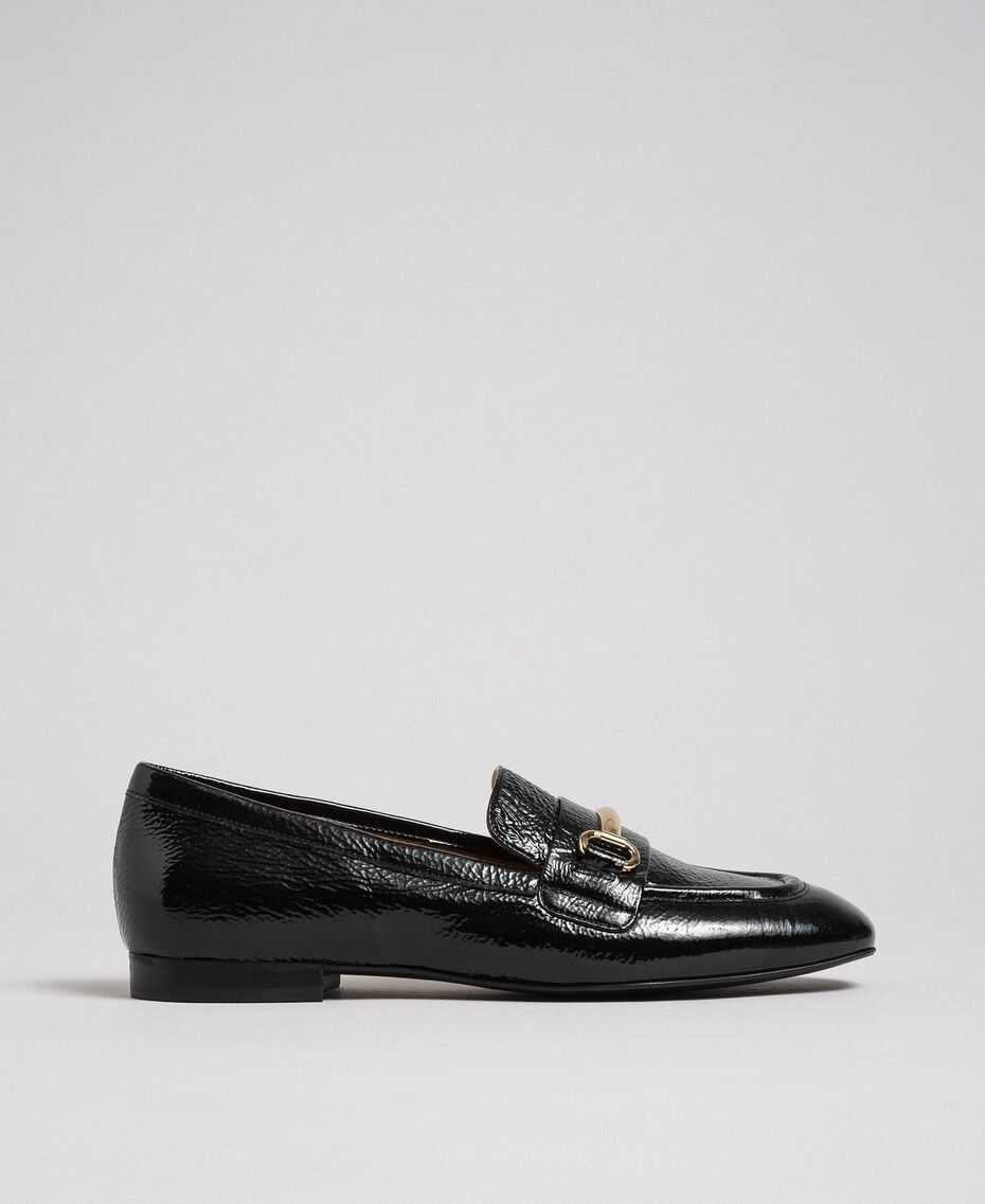 Patent leather moccasins Black Woman 192TCP124-02