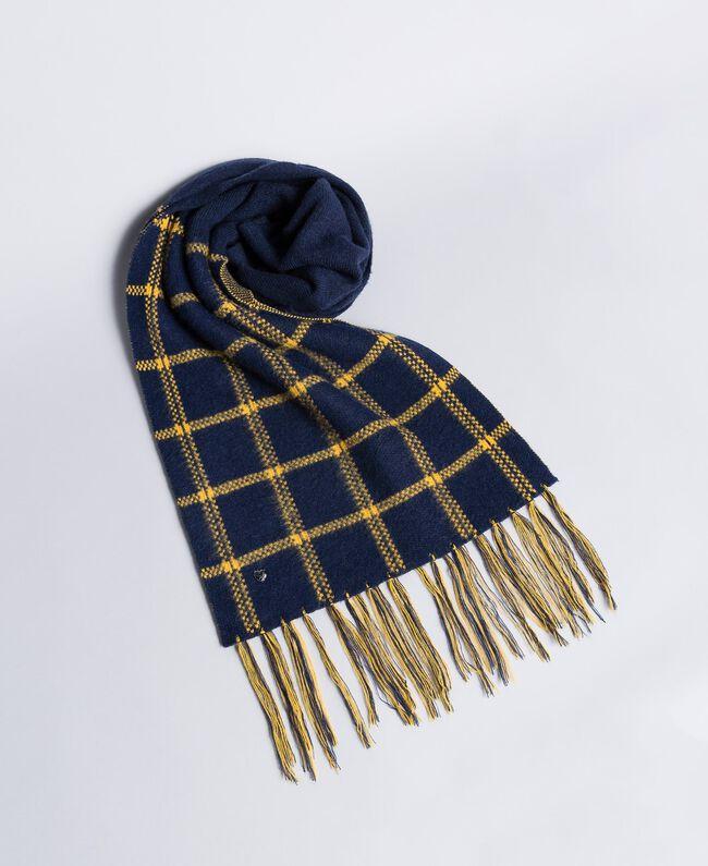 Schal aus Tuch in Jacquardverarbeitung Zweifarbig Goldgelb / Nachtblau Frau RA8T1G-01