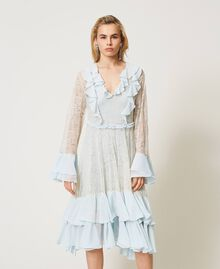 Chantilly lace dress with flounces Mousse Blue Woman 211TQ2121-02