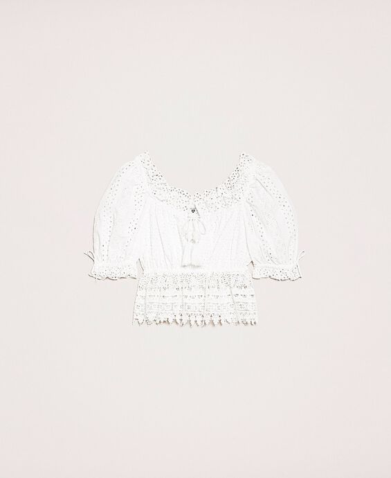 Broderie anglaise top with macramé lace