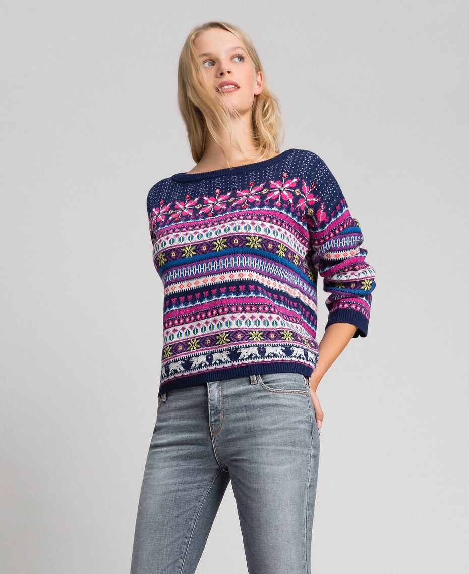 "Multicolour jacquard jumper with embroidery ""Pink Gloss"" Jacquard Woman 192MT3050-02"