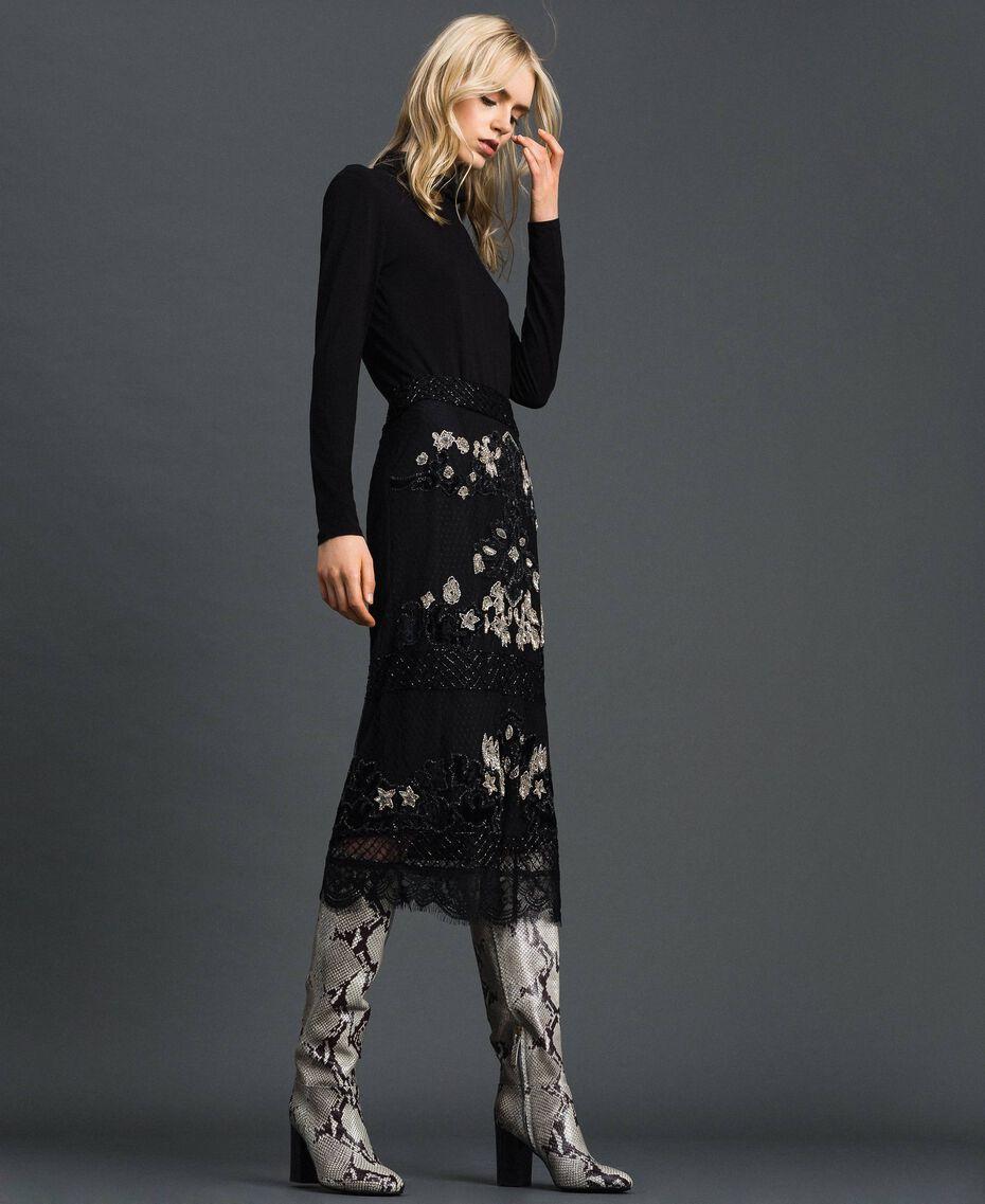 Falda de tul plumetis con bordados florales Negro Mujer 192TT2044-01