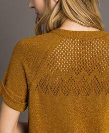 """Pullover aus Lurex mit Durchbruchmuster """"Golden Oak"""" Gold Lurex Frau 191TT3112-05"""