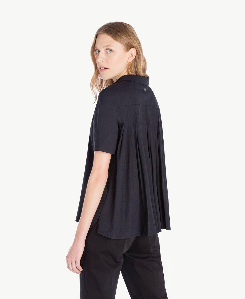 Hemd aus Popeline Schwarz Frau TS82ZD-03