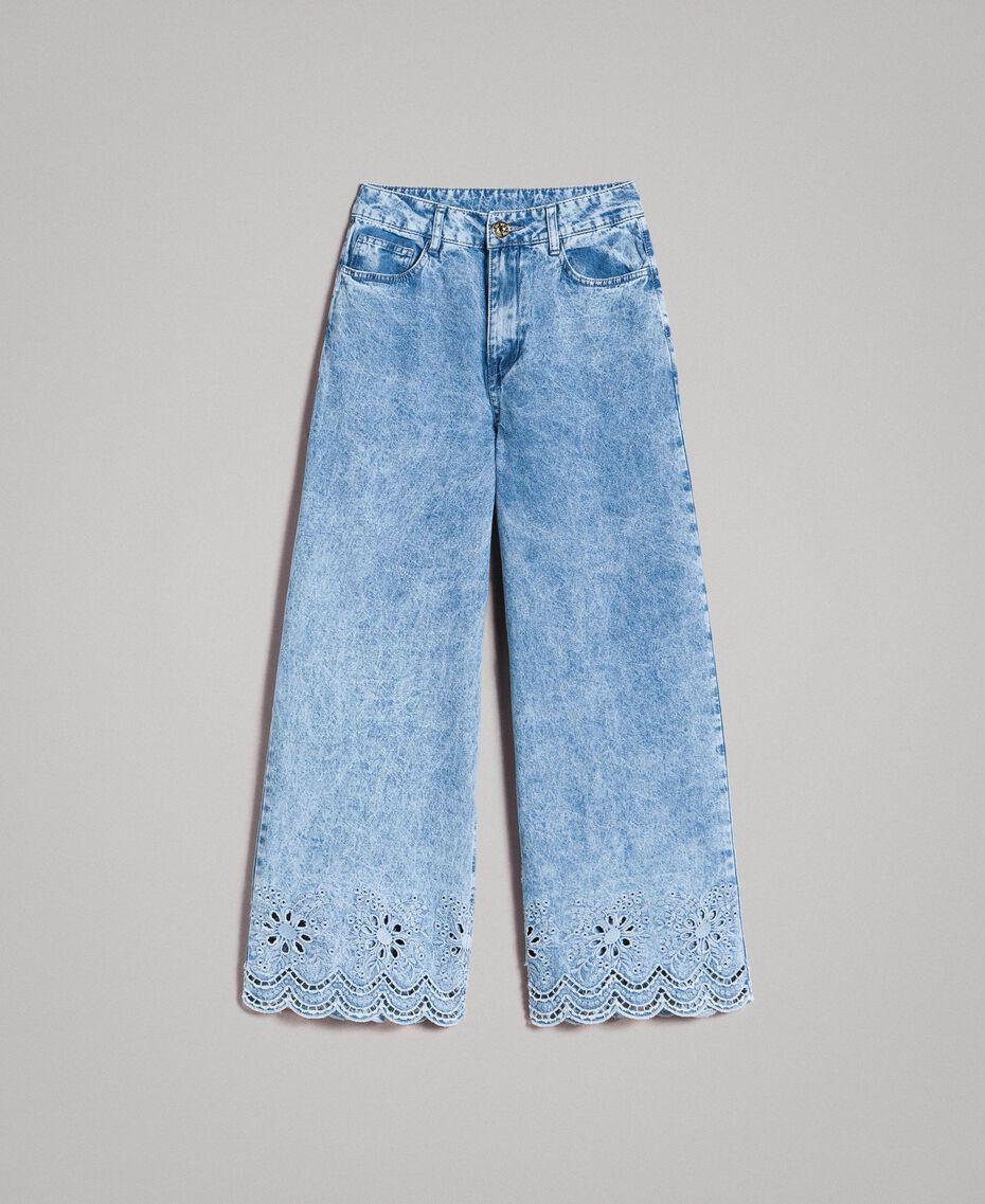 Jeans wide leg con ricamo sangallo Denim Blue Donna 191MP2010-0S