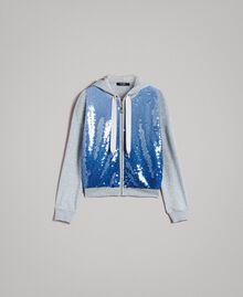 """Sweat-shirt avec sequins dégradés Bicolore Mélange Gris Clair / Bleu """"Bleuet"""" Femme 191MP2072-0S"""