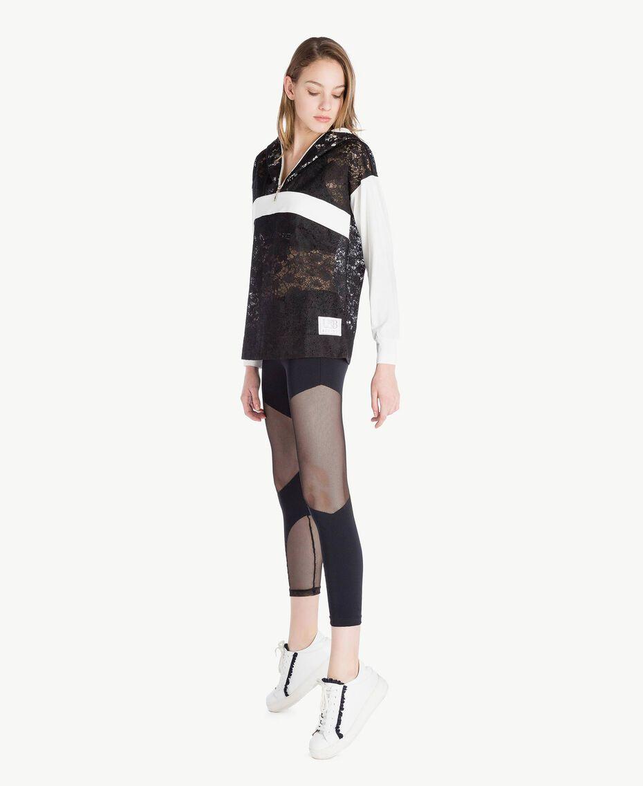 Sweat-shirt dentelle Bicolore Noir / Blanc Optique Femme LS89AA-03