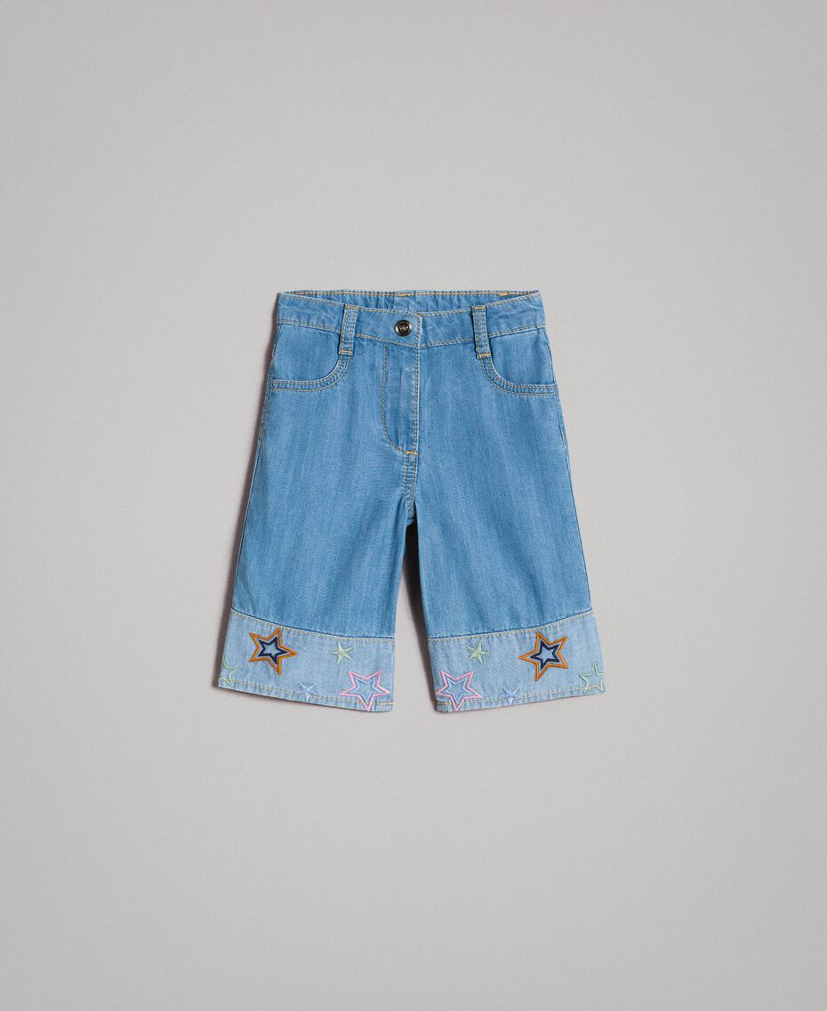 Wide leg jeans with embroidered stars Soft Denim Child 191GB2320-01