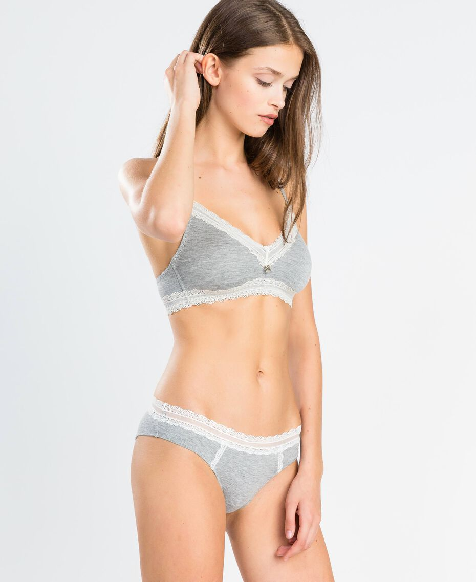 Triangolo in viscosa stretch mélange Grigio Mélange Medio Donna LA8B22-0S