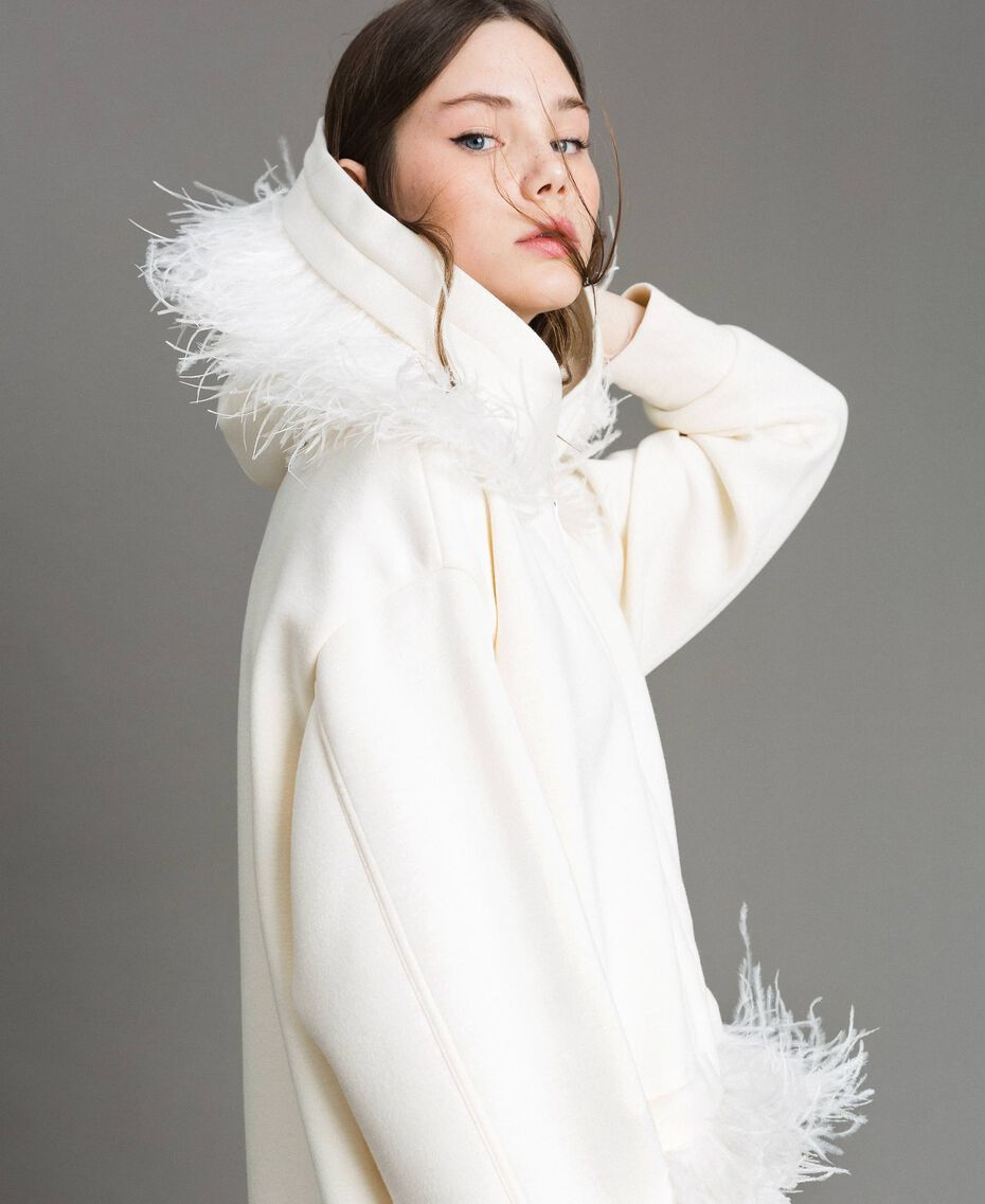 """Long scuba bomber with feathers """"Silk"""" White Woman 191TP2068-05"""