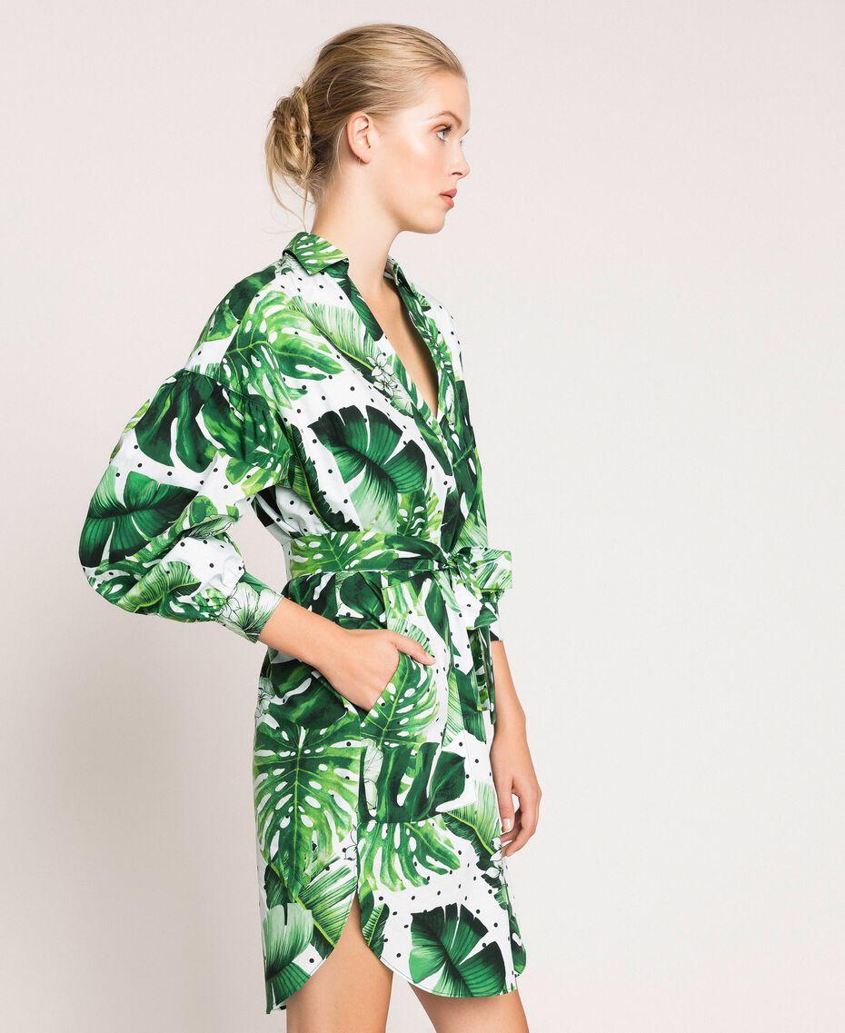 Платье-рубашка из набивного поплина Принт Тропический Горошек Зеленый женщина 201TP2551-02
