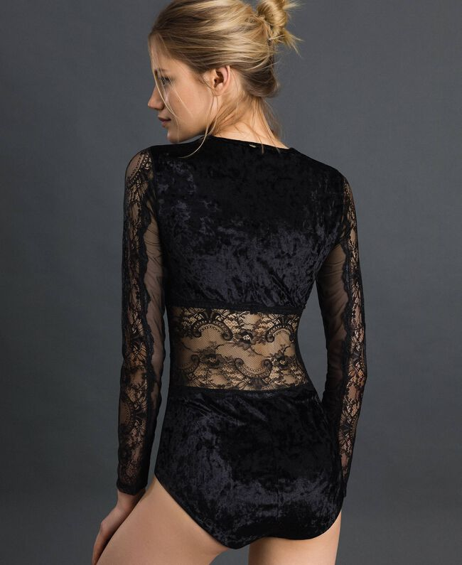 Laminated lace and velvet bodysuit Black Woman 192LL6HYY-03