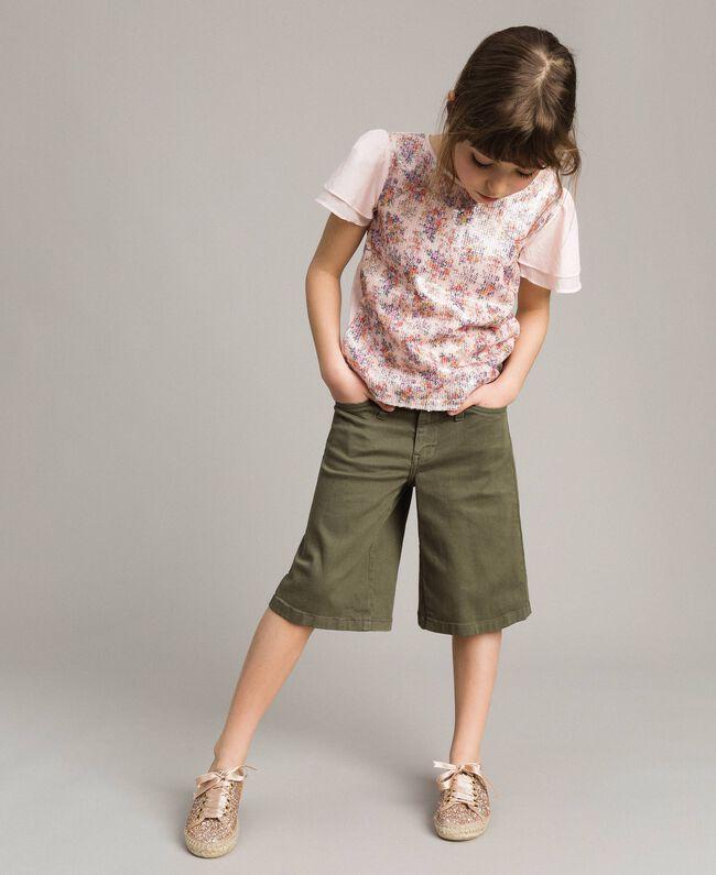 T-Shirt aus Jerseystoff mit aufgedruckten Pailletten Blütenrosa Kind 191GJ2660-04
