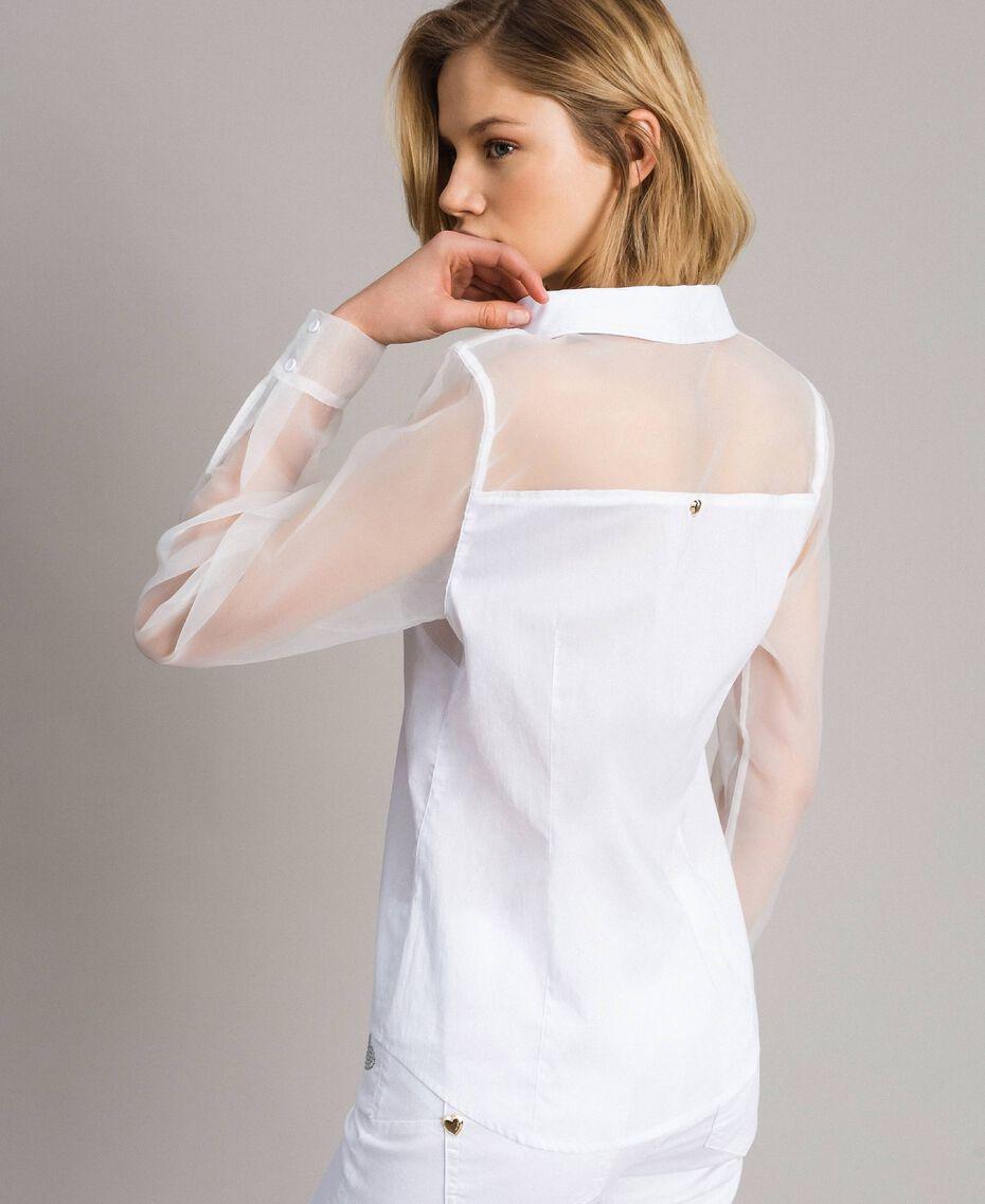 Organza und Popeline-Hemd Weiß Frau 191MT2301-03