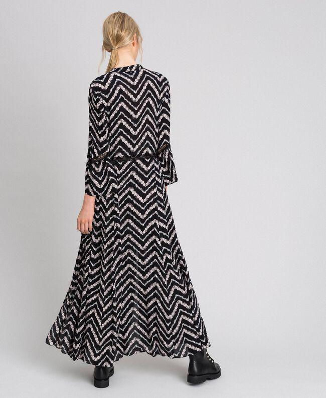 """Floral and chevron print long dress Black / """"Snow"""" Chevron Print Woman 192TP2527-03"""