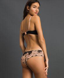 Culotte brésilienne en dentelle bicolore Noir / Rose «Pêche» Femme 192LL6D77-03